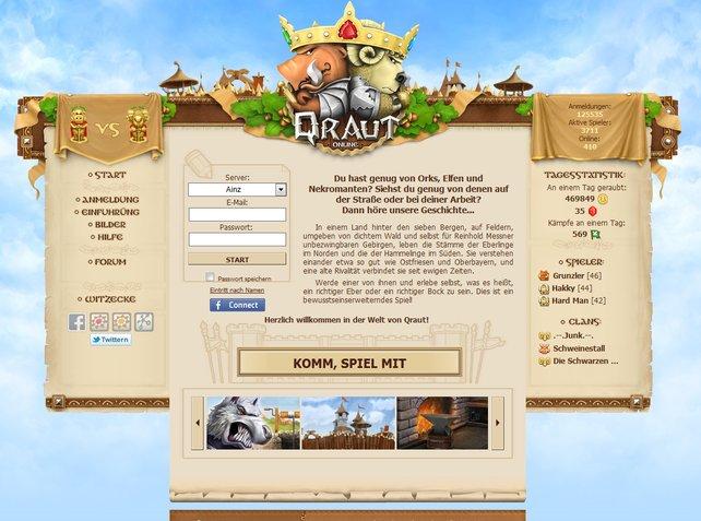 Auf der Startseite wird der Unterschied zu anderen Onlinespielen erläutert.