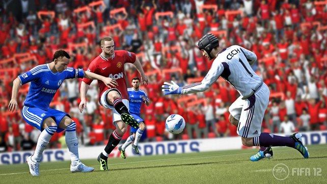 Kleine Rempler reichen gegen einen Superstar wie Manus Rooney nicht aus - er versenkt den Schuss zielsicher.