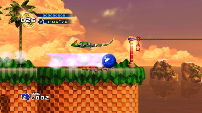 Auch 16 Jahre später macht Sonic beim Spin-Dash-Angriff eine gute Figur.