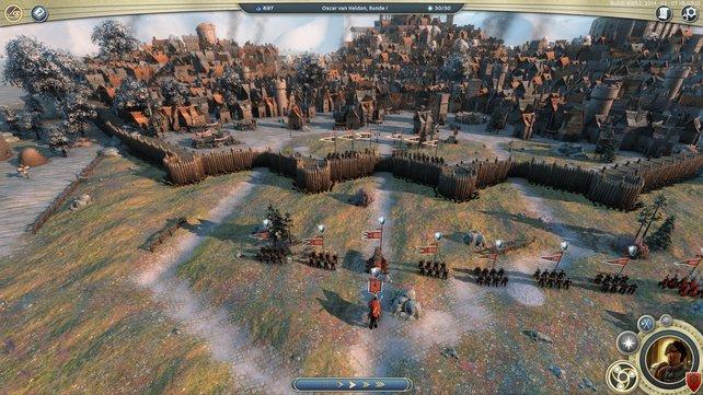 Eine Belagerung in Age of Wonders 3. Noch sind die Verteidiger auf den Zinnen.