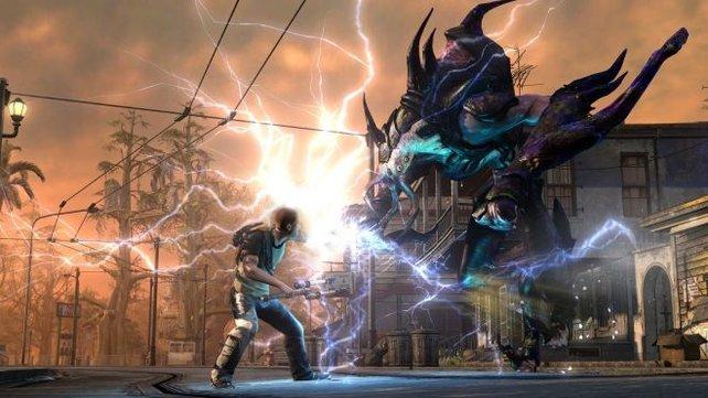 Superheld Cole kann sich gut wehren mit seinen Blitzen.