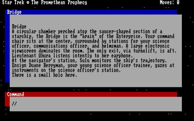 Oben der Text, unten die Kommandos (Star Trek: The Promethean Prophecy)