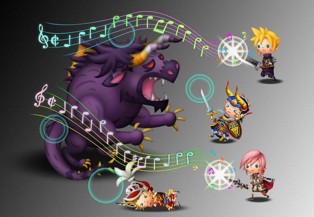 Die Helden und Monster aus dreizehn Generationen Final Fantasy präsentieren sich in niedlicher Optik.