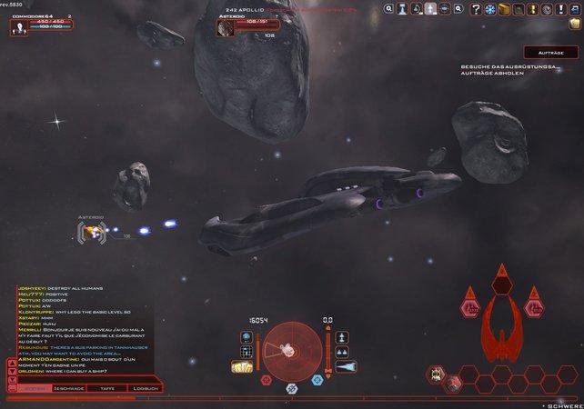 Habt ihr einen Rohstoff-reichen Asteroiden gefunden, heisst es: Feuer frei!
