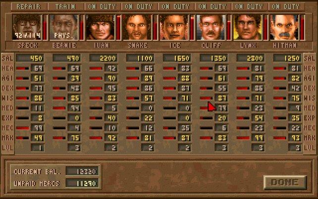 Jagged Alliance - Deadly Games: Die Söldner in der Übersicht.