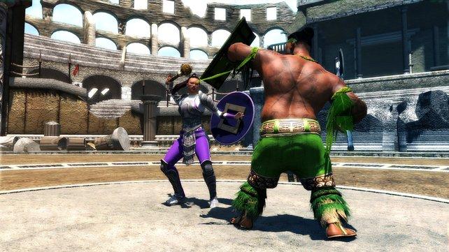 Im Gladiatorenduell gibt es auf die Mütze.