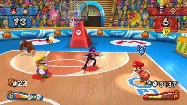Mario beim Basketball: Trifft er den Korb?