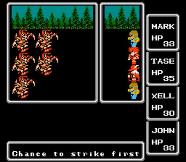 In den abstrakten Kämpfen von Final Fantasy 1 erkennt ihr bekannte Serienelemente wieder.