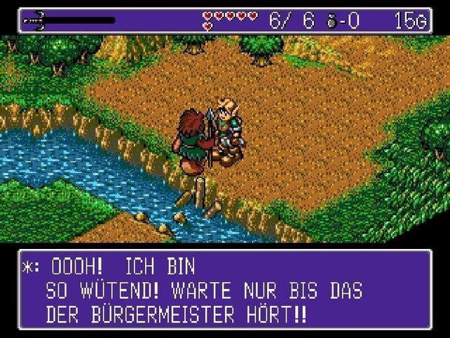 Die Ähnlichkeit zu Nintendos Zelda-Reihe ist unverkennbar: In Landstalker erlebt ihr spannende Abenteuer.