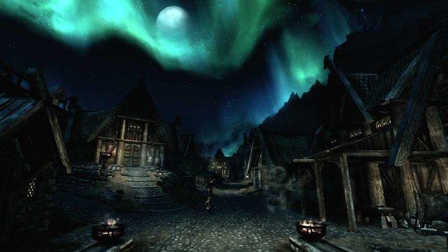 Skyrim bietet wunderschöne Anblicke. Wobei die ein oder andere Texture nicht ganz so scharf ist.