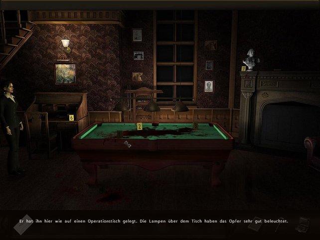 Ein frischer Tatort: im Billiardtisch findet sich ein wichtiger Beweis.