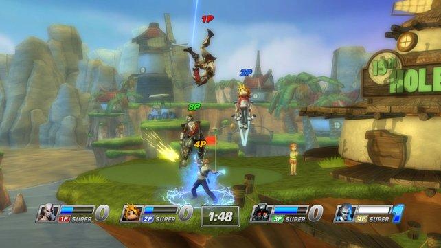 Bis zu vier Spieler kämpfen gleichzeitig gegeneinander.