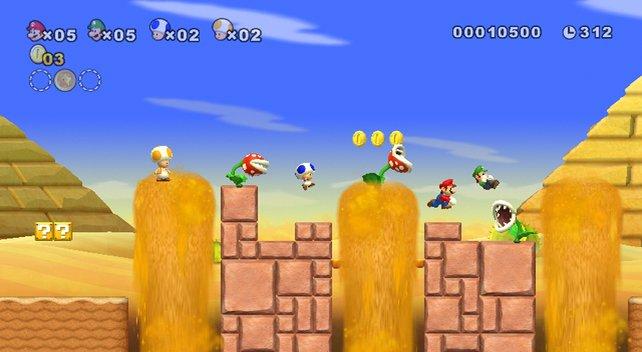 New Super Mario Bros. Wii könnt ihr kooperativ mit drei Freunden spielen.