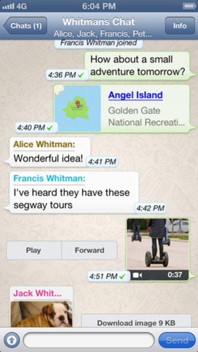WhatsApp verschickt kostenlos Textnachrichten, Bilder und Videos.