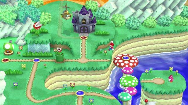 Die Weltkarte erinnert an Super Mario World.