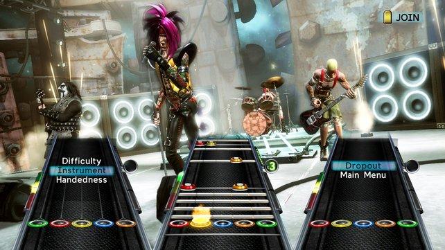 Party-Play-Modus: Jederzeit ein- und aussteigen, Instrument und Schwierigkeitsgrad immer änderbar.