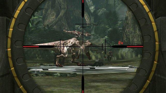 Ein großer Dino im Visier.