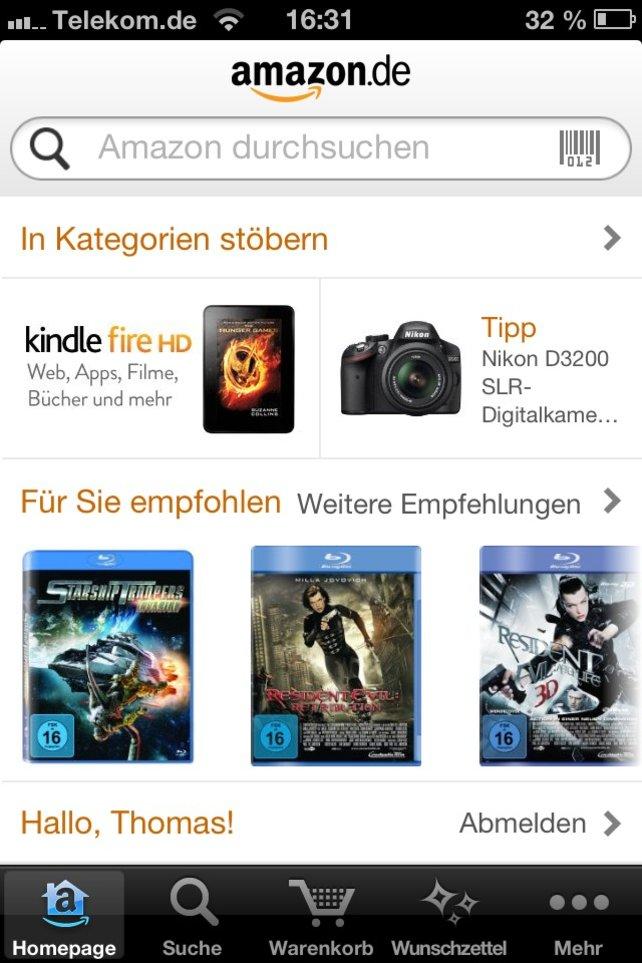 Auch mit der App gibt euch Amazon Empfehlungen auf der Startseite.