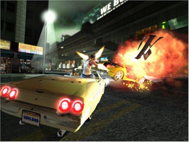 Hinter euch geht ein Auto in Flammen auf - bei gutem Zielvermögen keine Seltenheit.