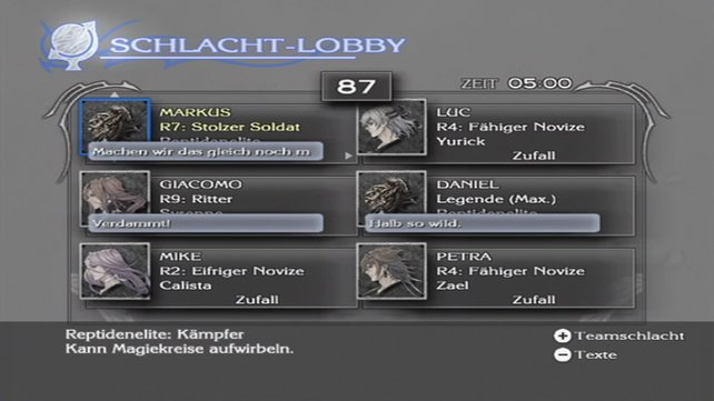 In der Schlacht-Lobby trefft ihr euch vor einer Mehrspieler-Partie.