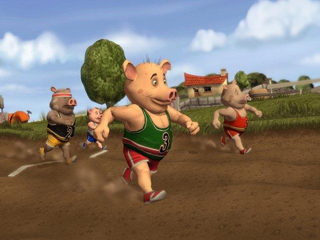 Statt in modernen Stadien treten die tierischen Atlethen auf dem heimischen Kartoffelacker in Aktion.