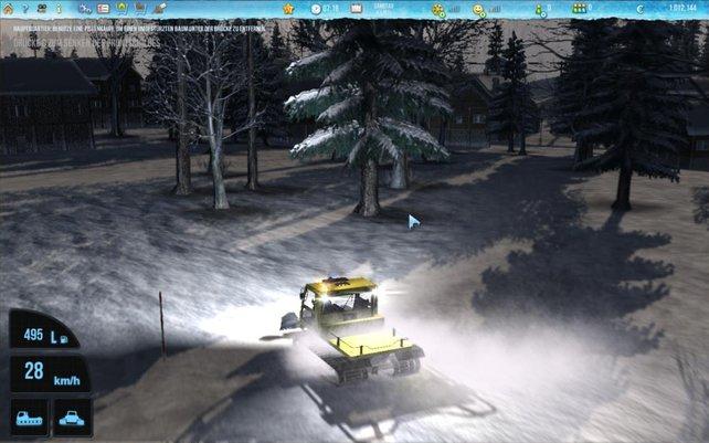 Im Skigebiet Simulator 2012 seid ihr wieder mit eurer gelben Pistenraupe unterwegs.