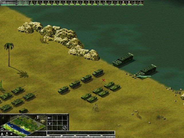 Mit Landungsbooten werden Einheiten auf die andere Seite des Flusses befördert