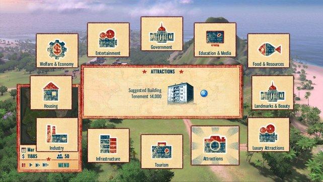 Aus einem Kreismenü wählt ihr die in Kategorien eingeteilten Gebäude aus.