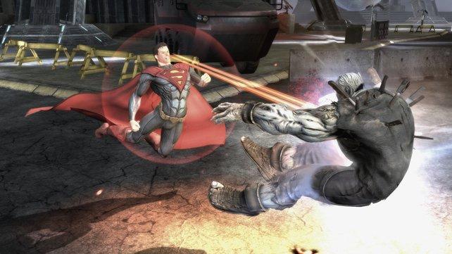 Jeder Charakter besitzt ein großes Repertoire an Fähigkeiten. Hier zeigt Superman seinen Hitzeblick.