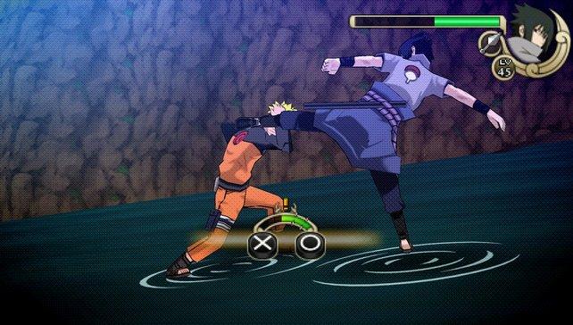 Naruto blockt Sasukes Angriff ab.