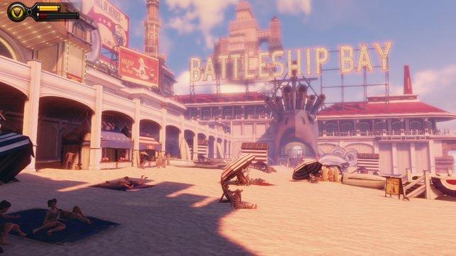 """Im Stadtviertel """"Battleship Bay"""" gibt es sogar einen Strand samt Meer."""