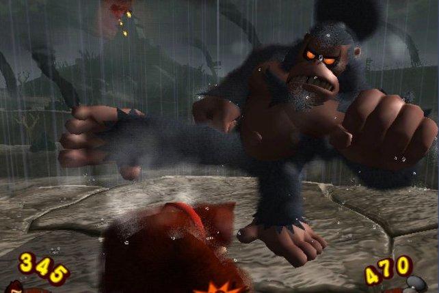 Boxkampf der Affen: Geschickt weicht Donkey dem Bananendieb aus.