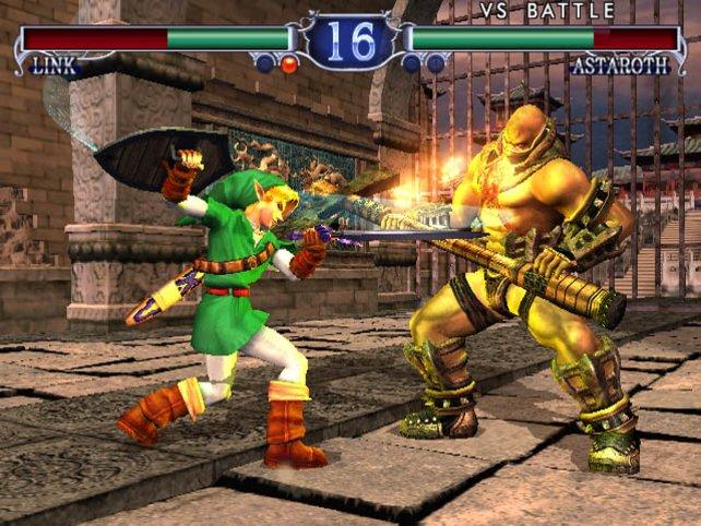 Mit Schwert und Schild kloppt sich Link mit den Soul-Calibur-2-Recken.