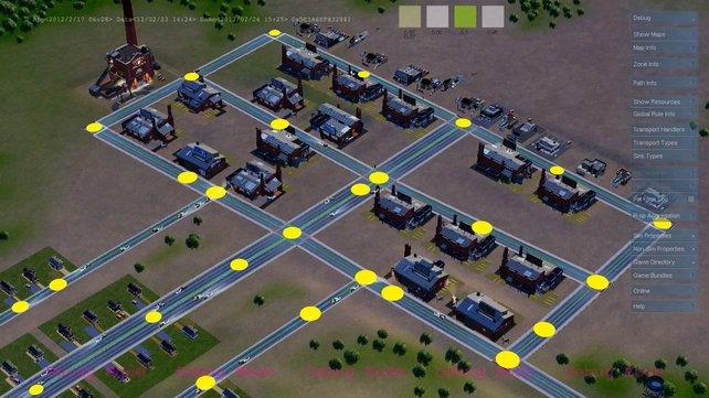 Die gelben Objekte stehen für den Stromfluss unter den Straßen.