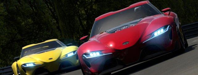 Das neue Konzept-Coupé Toyota FT-1 in gelb und rot.