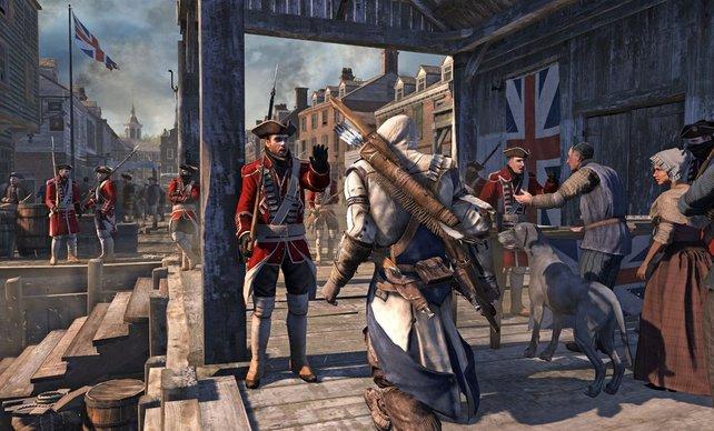 Ein englischer Soldat versucht Connor aufzuhalten. Unwahrscheinlich, dass es ihm gelingt.
