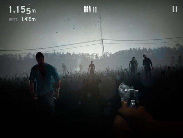 Im Dauersprint rennt ihr vorbei an massig Zombies und sammelt Waffen ein.