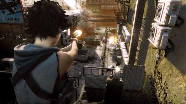 Häuserkampf: Kim (oben) und Ben nehmen die Feinde in der Gasse aufs Korn.