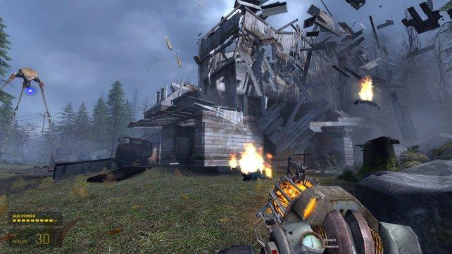 Ein Strider zerstört effektvoll ein ganzes Haus.