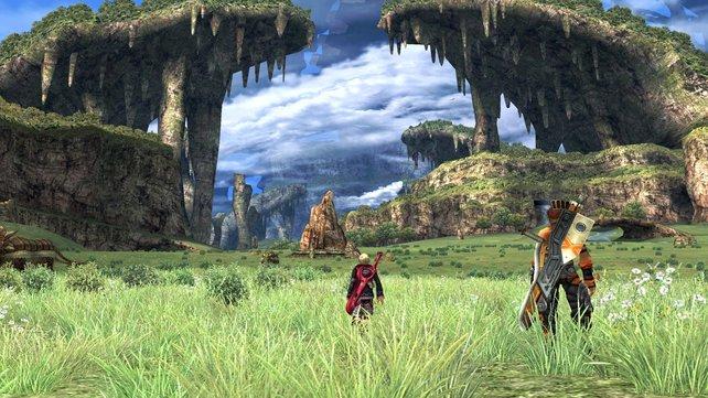 Auf dem Oberschenkel von Bionis durchstreift ihr weite Landschaften.
