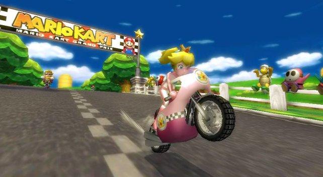 Prinzessin Peach macht einen Wheelie mit dem Bike