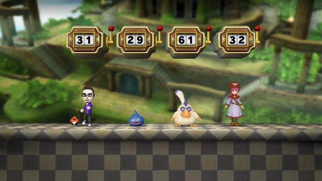Links ein Mii, daneben drei Charaktere aus Dragon Quest.