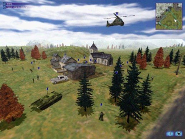 Ein Hubschrauber rettet Zivilisten