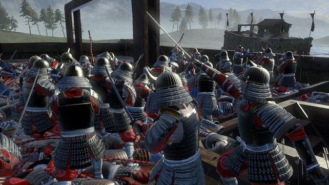 In den Seeschlachten entern Soldaten ein feindliches Schiff mit einer Brücke und metzeln die Besatzungen nieder.