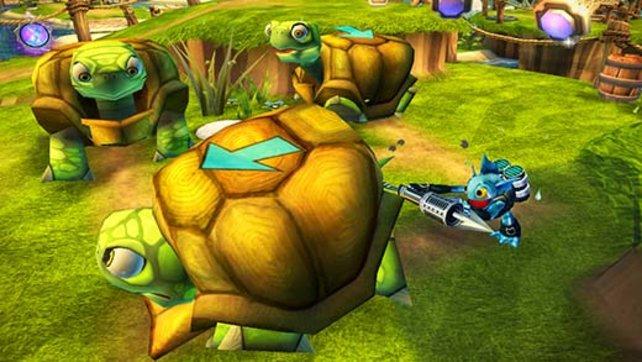 Um voran zu kommen, muss Grill Grunt erst ein paar Schildkröten schubsen.