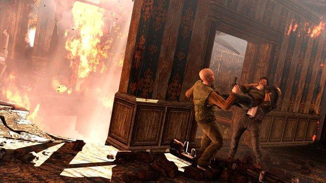 Drake nimmt es in Uncharted 3 gleich mit mehreren Gegnern auf.