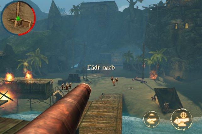 Gelegentliche Kanonengefechte lockern das Spielgeschehen auf.
