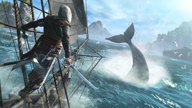 Hier geht Edward mit seinem Schiff Jackdaw auf Walfang.