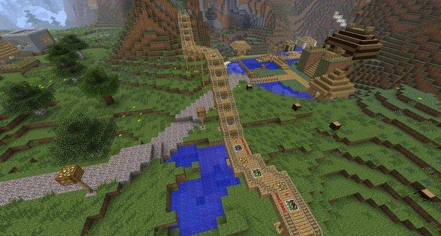 Auf Minekart-Strecken könnt ihr durch die gewaltigen Landschaften reisen. Aber erstmal müsst ihr sie bauen.