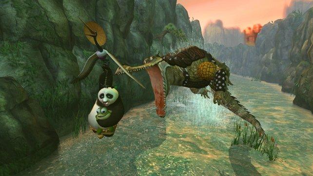 Der Kranich rettet Po und ein Schildkrötenbaby vor dem bösen Kroko.